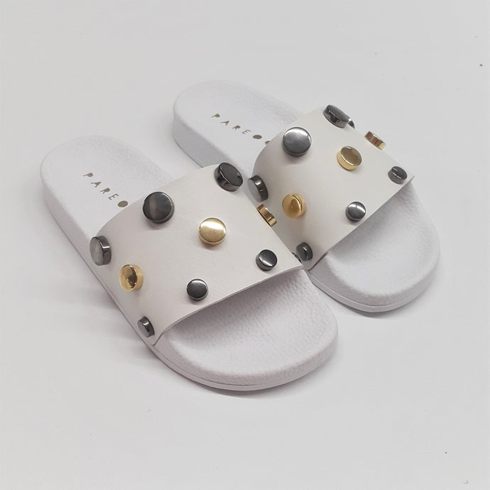 Flat Button White Gun/Gold  Slides - PAREOO