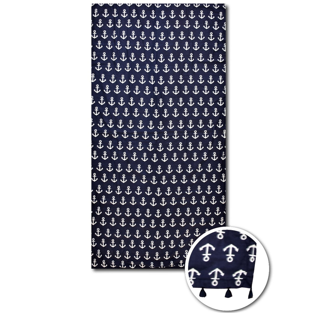 Navy anchor beach towel - PAREOO