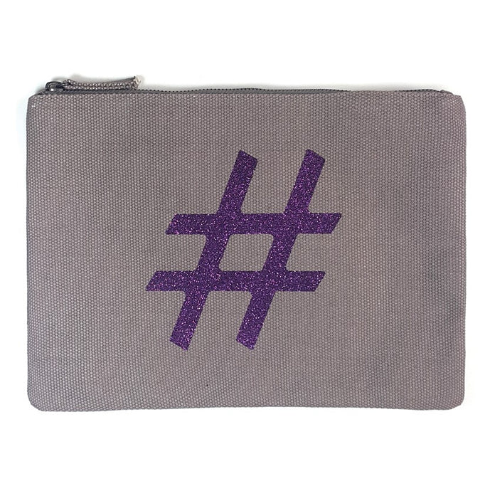 Sparkling Purple Hashtag Clutch - PAREOO