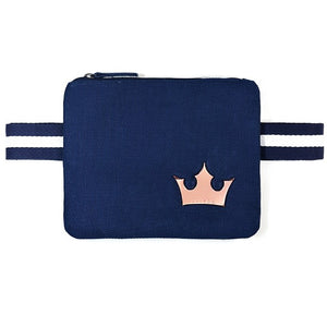 "Navy blue color canva ""Free Hands"" waist bag - PAREOO"