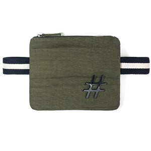 "Olive color canva ""Free Hands"" waist bag - PAREOO"