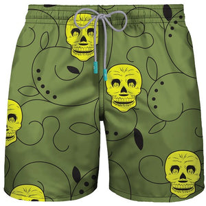 "MID-LENGHT SWIM SHOR ""DA SCULL"" ARMY GREEN - PAREOO"