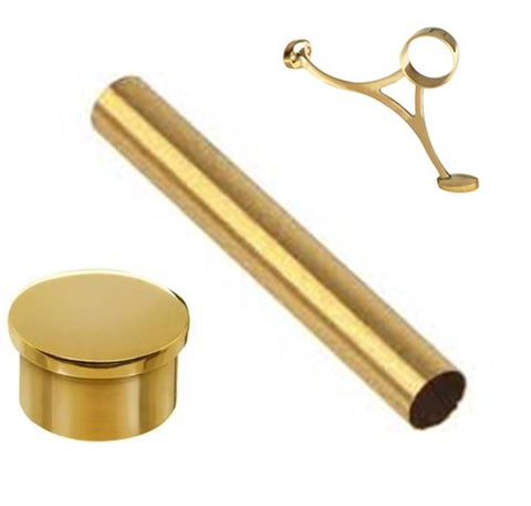 Brass Tube, Flat End Cap, Combination Bar Mount Bracket