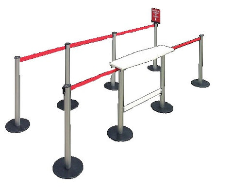 stanchion table post rectangular retractable belt