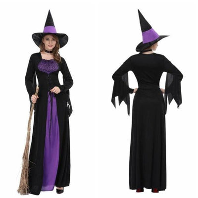 Halloween Cosplay Costume Witch Long Dress Women Party Stage Costumes with Neckerchief Hats