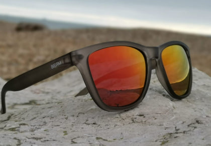 polarised sunglasses grey frame red mirror lens