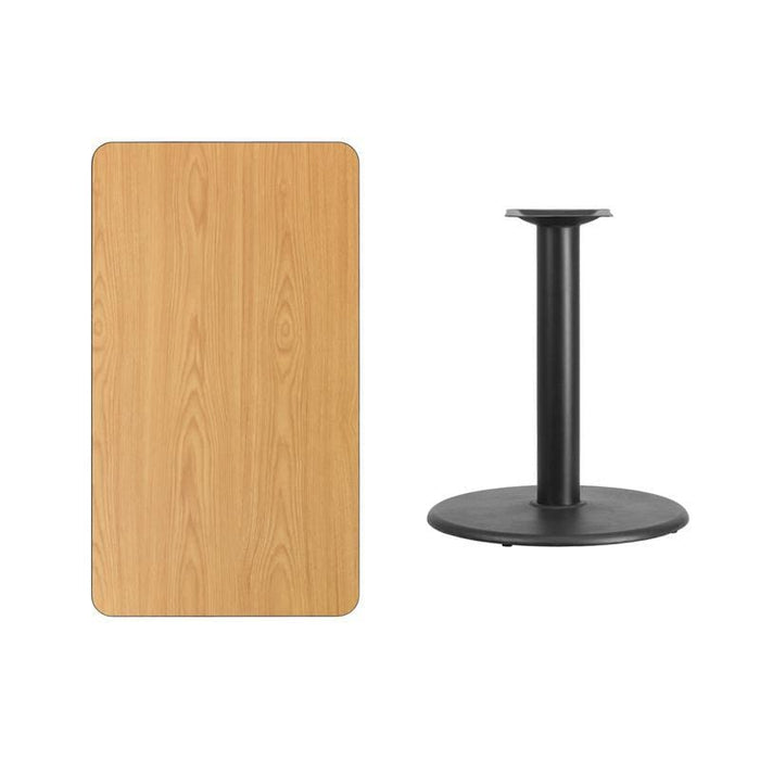 24 X 42 Rectangular Natural Laminate Table Top With 24 Round Table Height Base - Restaurant Tables