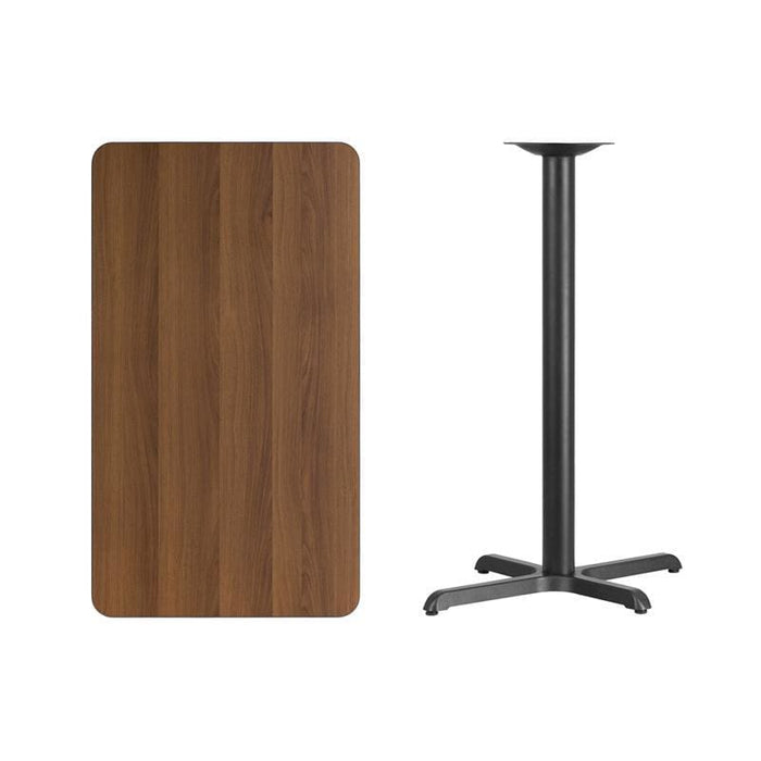 24 X 42 Rectangular Walnut Laminate Table Top With 22 X 30 Bar Height Table Base - Restaurant Tables