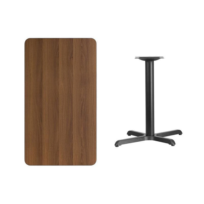 24 X 42 Rectangular Walnut Laminate Table Top With 22 X 30 Table Height Base - Restaurant Tables