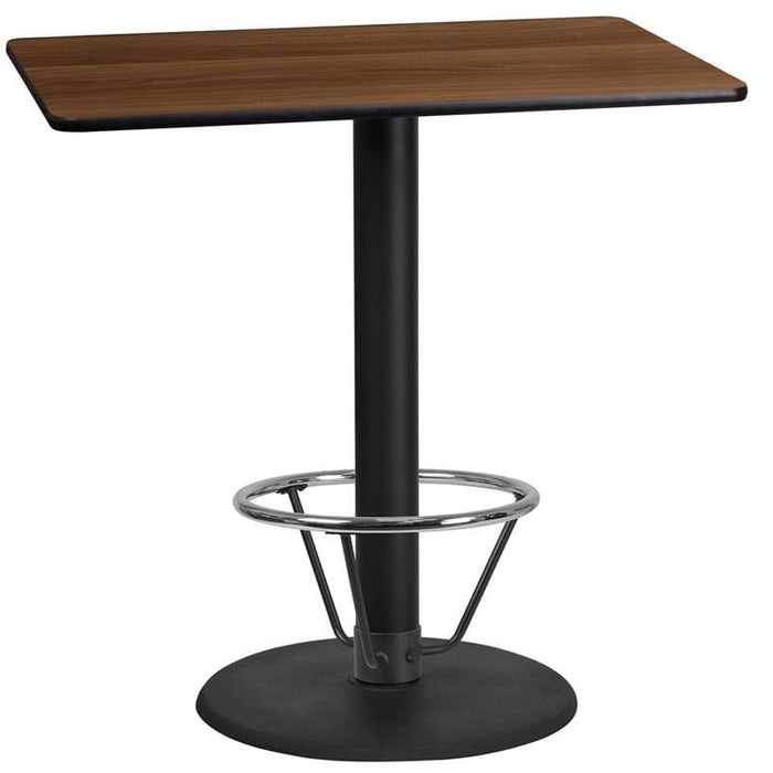 24 X 42 Rectangular Walnut Laminate Table Top With 24 Round Bar Height Table Base And Foot Ring - Restaurant Tables