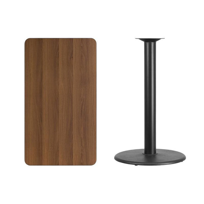 24 X 42 Rectangular Walnut Laminate Table Top With 24 Round Bar Height Table Base - Restaurant Tables