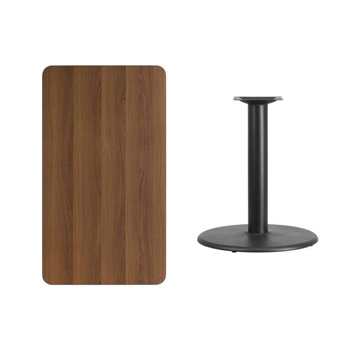 24 X 42 Rectangular Walnut Laminate Table Top With 24 Round Table Height Base - Restaurant Tables
