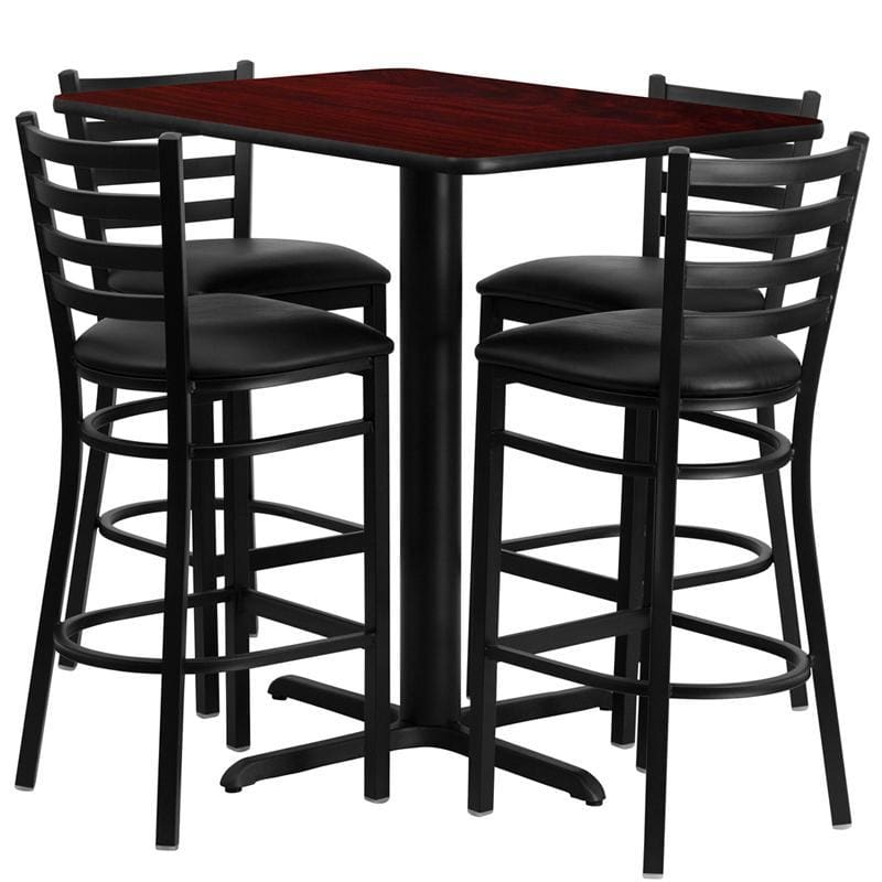 24W X 42L Rectangular Mahogany Laminate Table Set With 4 Ladder Back Metal Barstools - Black Vinyl Seat - Restaurant Furniture Table & Chair
