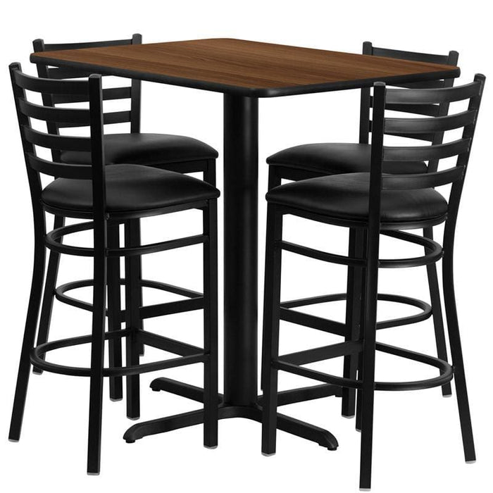 24W X 42L Rectangular Walnut Laminate Table Set With 4 Ladder Back Metal Barstools - Black Vinyl Seat - Restaurant Furniture Table & Chair