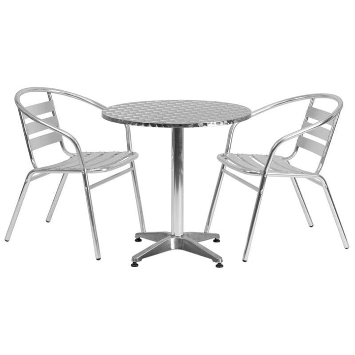 27.5 Round Aluminum Indoor-Outdoor Table Set With 2 Slat Back Chairs - Indoor Outdoor Sets