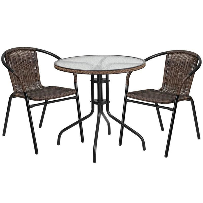 28 Round Glass Metal Table With Dark Brown Rattan Edging And 2 Dark Brown Rattan Stack Chairs - Indoor Outdoor Sets