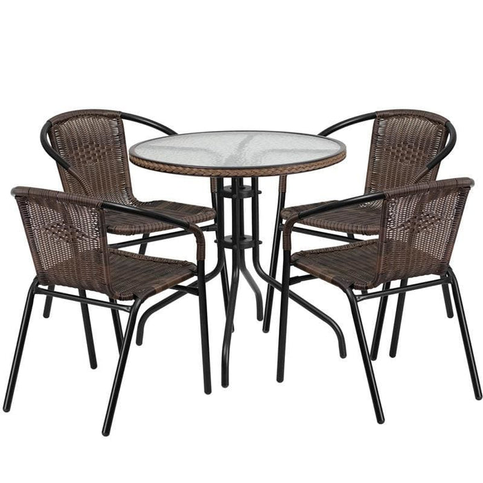 28 Round Glass Metal Table With Dark Brown Rattan Edging And 4 Dark Brown Rattan Stack Chairs - Indoor Outdoor Sets