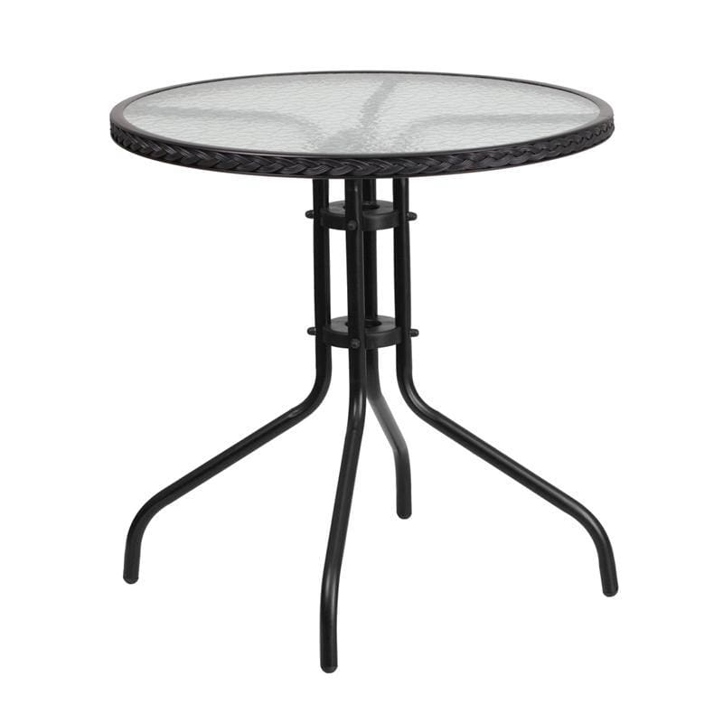 28 Round Tempered Glass Metal Table With Black Rattan Edging - Indoor Outdoor Tables