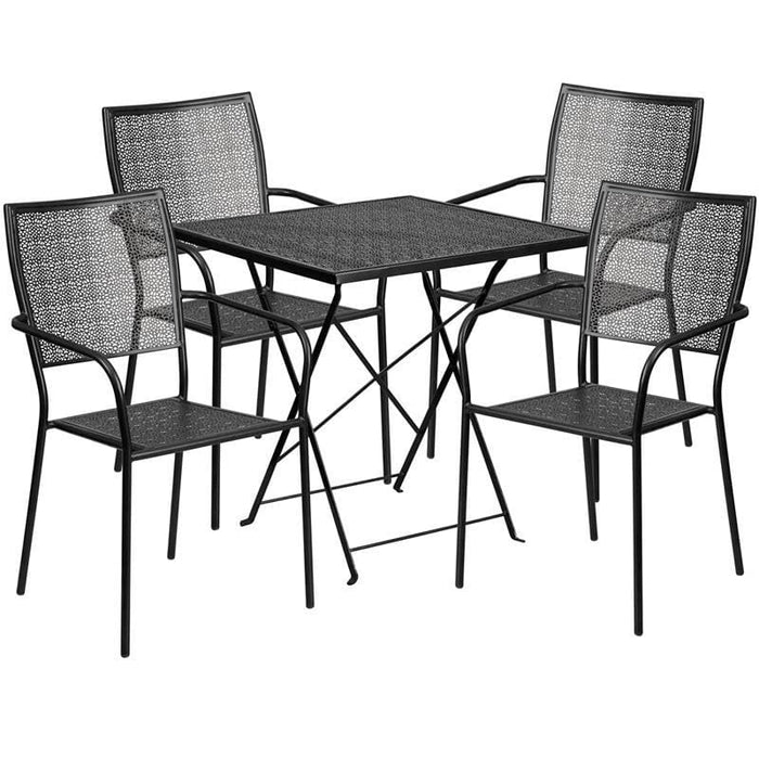 28 Square Black Indoor-Outdoor Steel Folding Patio Table Set With 4 Square Back Chairs - Indoor Outdoor Sets
