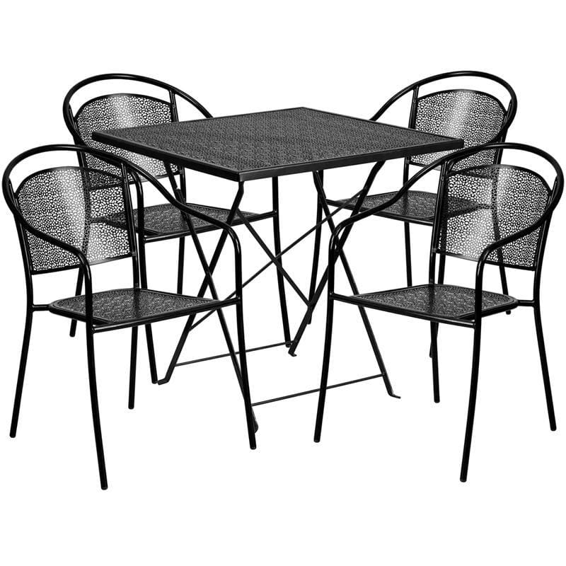 28 Square Black Indoor-Outdoor Steel Folding Patio Table Set With 4 Round Back Chairs - Indoor Outdoor Sets