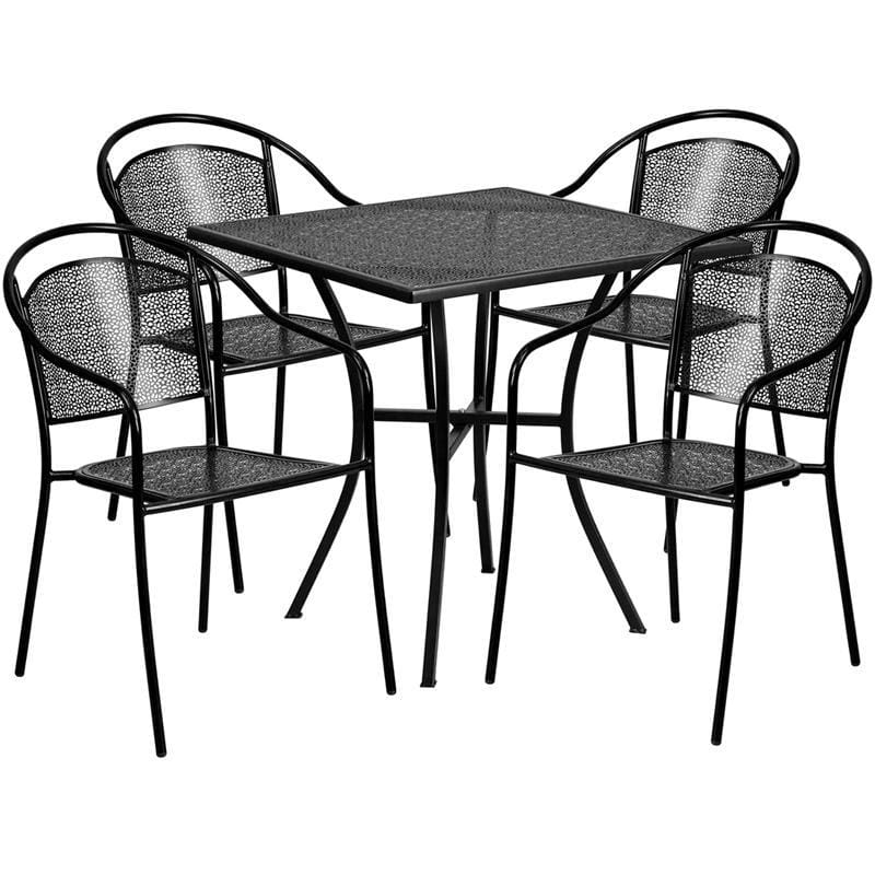 28 Square Black Indoor-Outdoor Steel Patio Table Set With 4 Round Back Chairs - Indoor Outdoor Sets