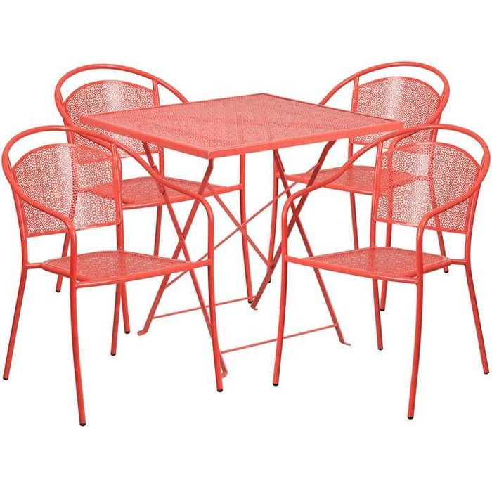 28 Square Coral Indoor-Outdoor Steel Folding Patio Table Set With 4 Round Back Chairs - Indoor Outdoor Sets