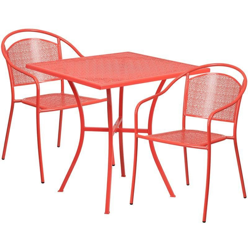 28 Square Coral Indoor-Outdoor Steel Patio Table Set With 2 Round Back Chairs - Indoor Outdoor Sets