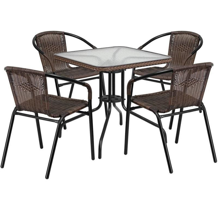 28 Square Glass Metal Table With Dark Brown Rattan Edging And 4 Dark Brown Rattan Stack Chairs - Indoor Outdoor Sets