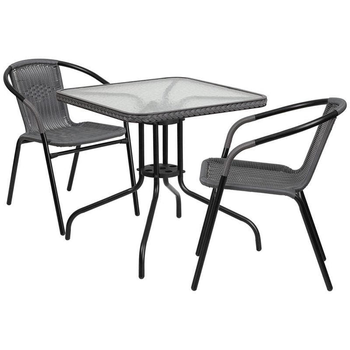 28 Square Glass Metal Table With Gray Rattan Edging And 2 Gray Rattan Stack Chairs - Indoor Outdoor Sets