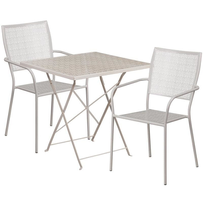 28 Square Light Gray Indoor-Outdoor Steel Folding Patio Table Set With 2 Square Back Chairs - Indoor Outdoor Sets