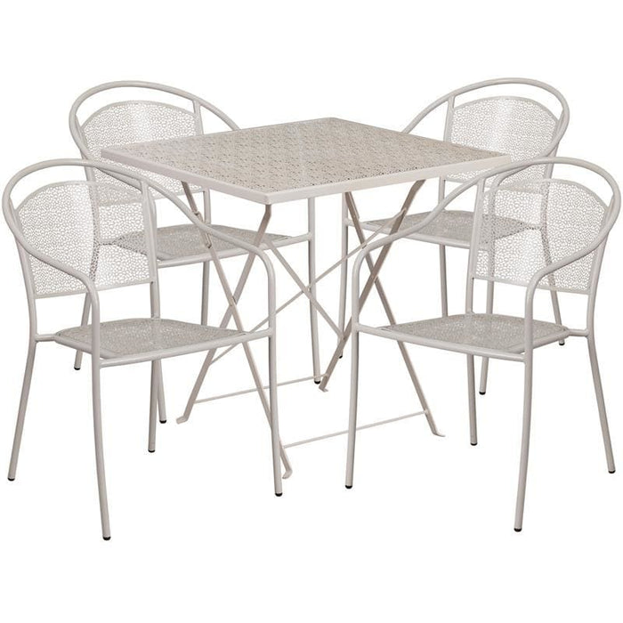 28 Square Light Gray Indoor-Outdoor Steel Folding Patio Table Set With 4 Round Back Chairs - Indoor Outdoor Sets