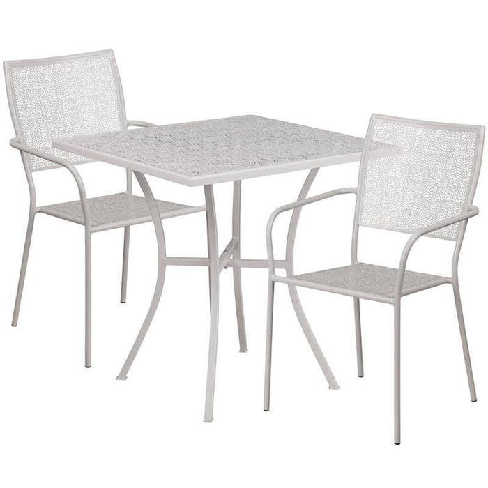 28 Square Light Gray Indoor-Outdoor Steel Patio Table Set With 2 Square Back Chairs - Indoor Outdoor Sets