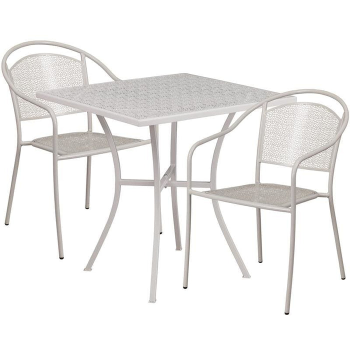 28 Square Light Gray Indoor-Outdoor Steel Patio Table Set With 2 Round Back Chairs - Indoor Outdoor Sets
