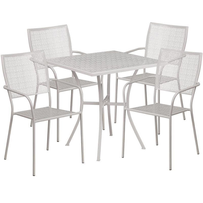 28 Square Light Gray Indoor-Outdoor Steel Patio Table Set With 4 Square Back Chairs - Indoor Outdoor Sets