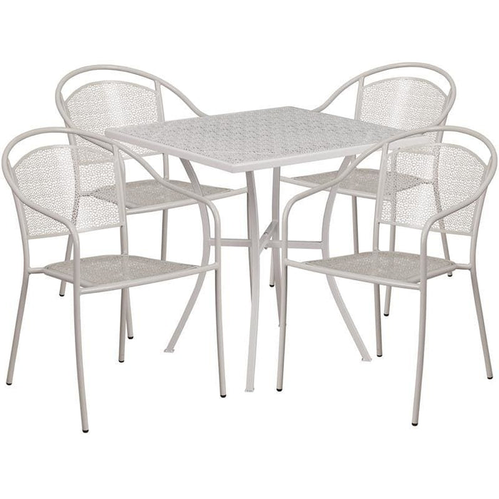 28 Square Light Gray Indoor-Outdoor Steel Patio Table Set With 4 Round Back Chairs - Indoor Outdoor Sets