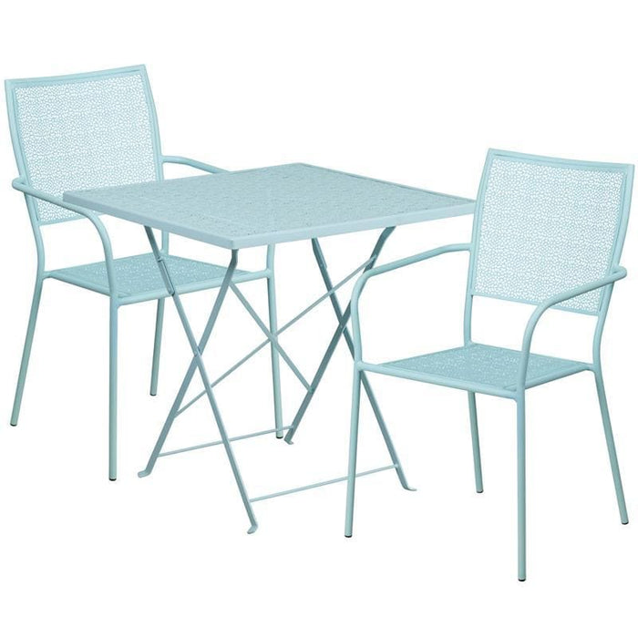 28 Square Sky Blue Indoor-Outdoor Steel Folding Patio Table Set With 2 Square Back Chairs - Indoor Outdoor Sets