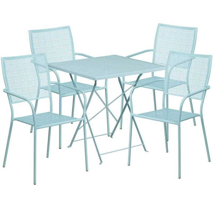 28 Square Sky Blue Indoor-Outdoor Steel Folding Patio Table Set With 4 Square Back Chairs - Indoor Outdoor Sets