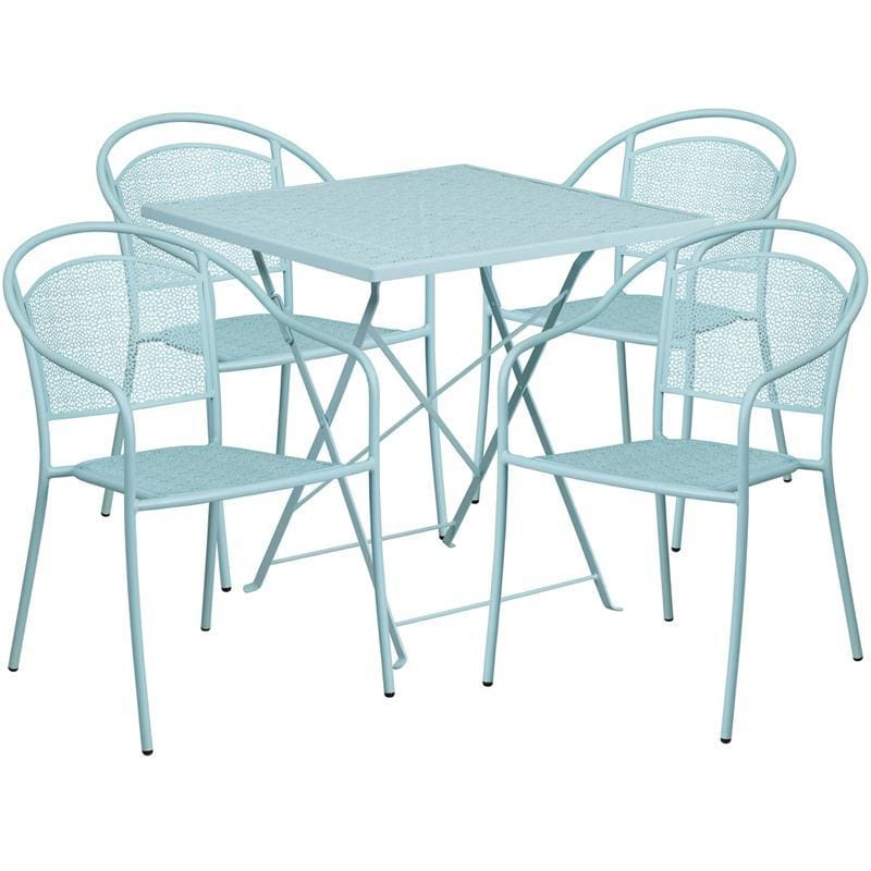 28 Square Sky Blue Indoor-Outdoor Steel Folding Patio Table Set With 4 Round Back Chairs - Indoor Outdoor Sets