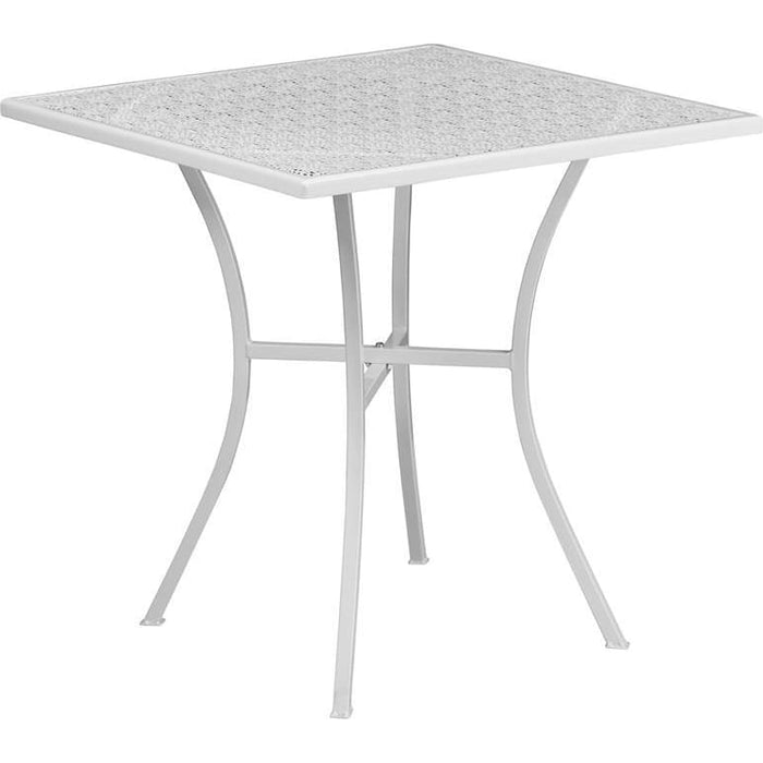 28 Square White Indoor-Outdoor Steel Patio Table - Indoor Outdoor Tables