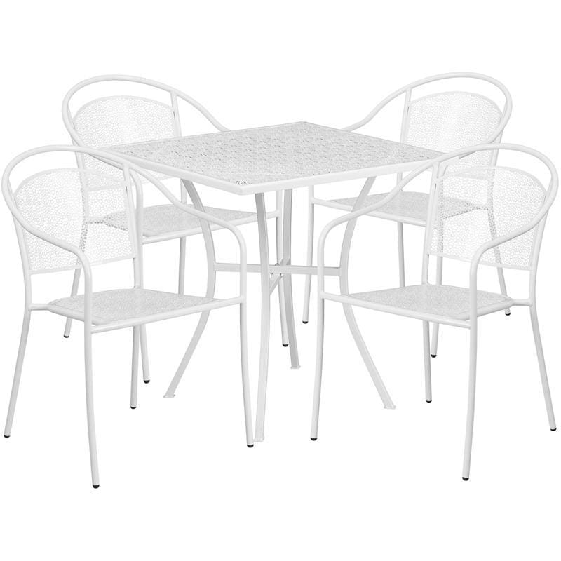 28 Square White Indoor-Outdoor Steel Patio Table Set With 4 Round Back Chairs - Indoor Outdoor Sets