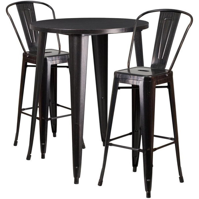 30 Round Black-Antique Gold Metal Indoor-Outdoor Bar Table Set With 2 Cafe Stools - Indoor Outdoor Sets
