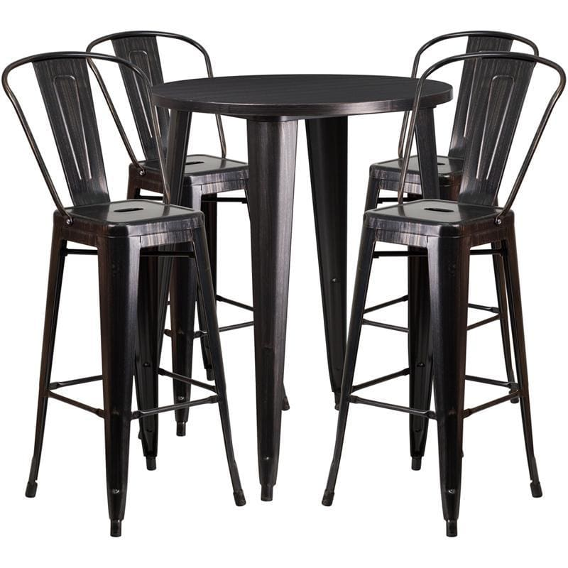 30 Round Black-Antique Gold Metal Indoor-Outdoor Bar Table Set With 4 Cafe Stools - Indoor Outdoor Sets