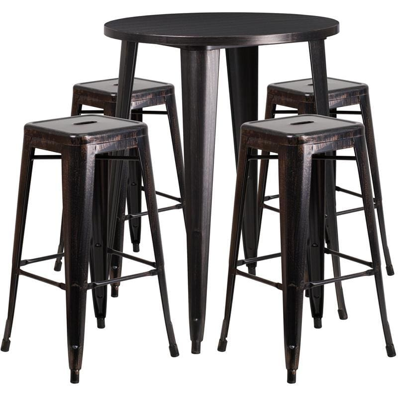 30 Round Black-Antique Gold Metal Indoor-Outdoor Bar Table Set With 4 Square Seat Backless Stools - Indoor Outdoor Sets