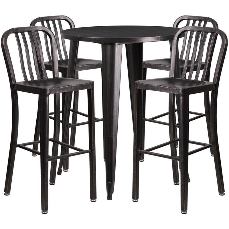 30 Round Black-Antique Gold Metal Indoor-Outdoor Bar Table Set With 4 Vertical Slat Back Stools - Indoor Outdoor Sets