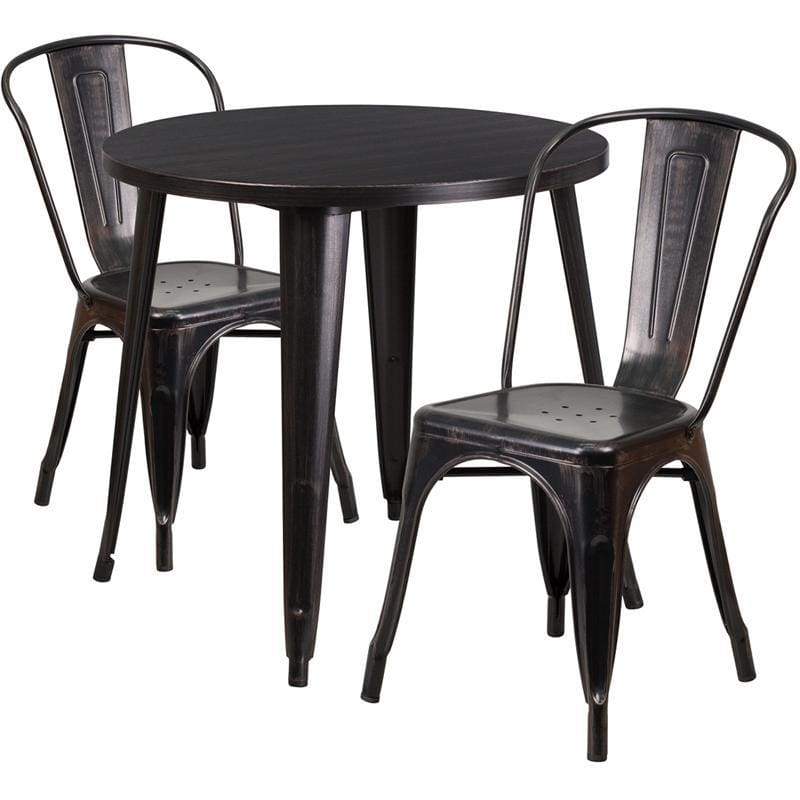 30 Round Black-Antique Gold Metal Indoor-Outdoor Table Set With 2 Cafe Chairs - Indoor Outdoor Sets