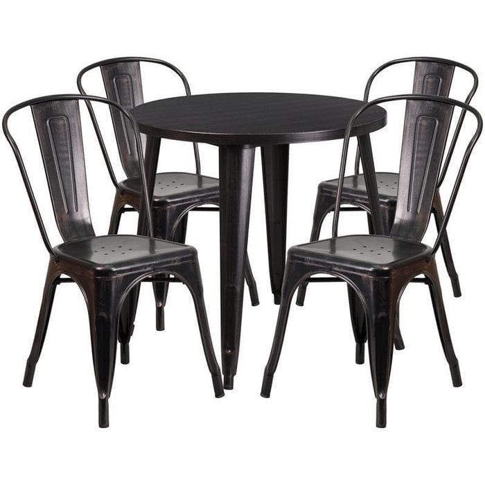 30 Round Black-Antique Gold Metal Indoor-Outdoor Table Set With 4 Cafe Chairs - Indoor Outdoor Sets