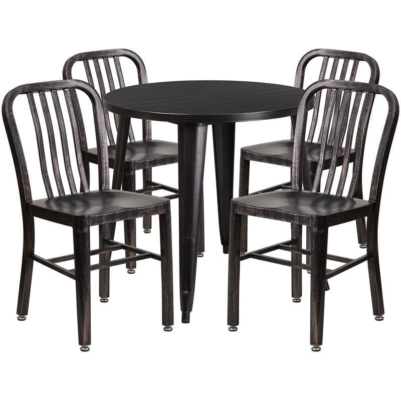 30 Round Black-Antique Gold Metal Indoor-Outdoor Table Set With 4 Vertical Slat Back Chairs - Indoor Outdoor Sets
