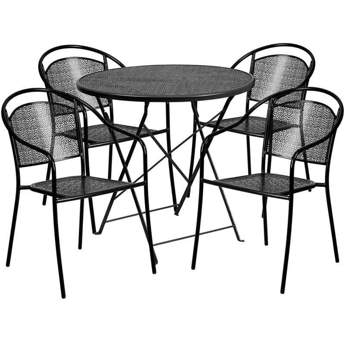 30 Round Black Indoor-Outdoor Steel Folding Patio Table Set With 4 Round Back Chairs - Indoor Outdoor Sets