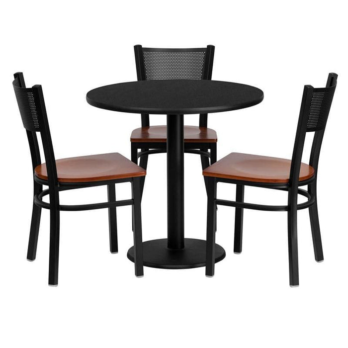 30 Round Black Laminate Table Set With 3 Grid Back Metal Chairs - Cherry Wood Seat - Restaurant Furniture Table & Chair Sets