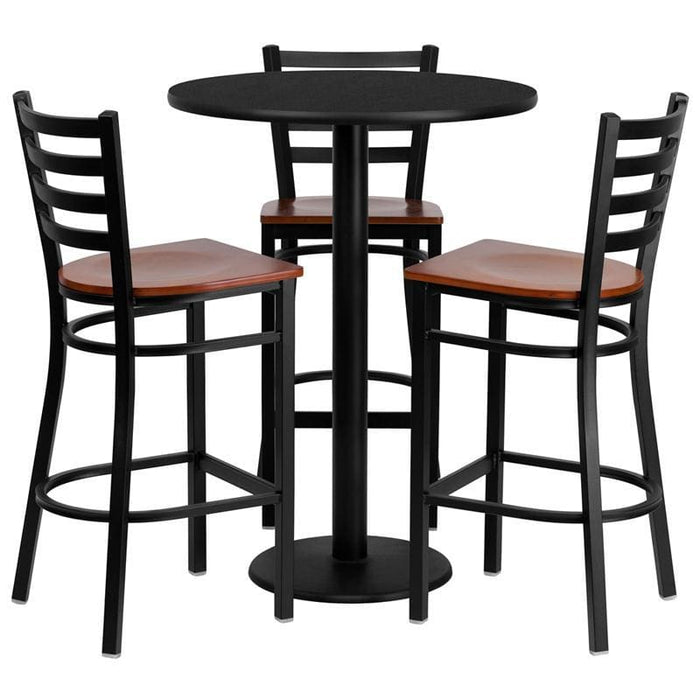 30 Round Black Laminate Table Set With 3 Ladder Back Metal Barstools - Cherry Wood Seat - Restaurant Furniture Table & Chair Sets